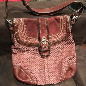 Maroon coach purse